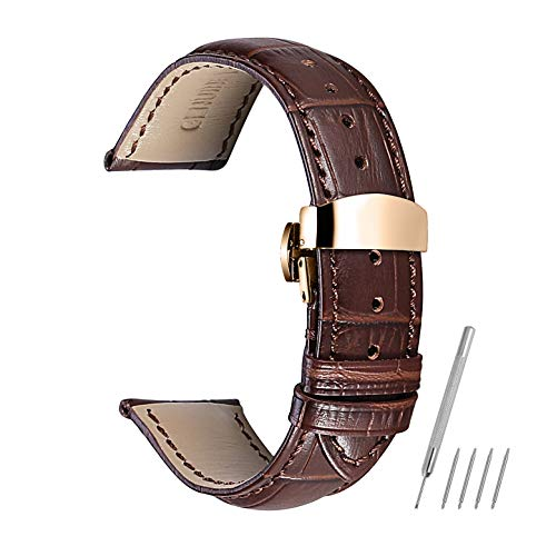 - Watch Band Leather Strap Replacement 14mm 16mm 18mm 19mm 20mm 21mm 22mm 24mm Calf Wrist Watchband Deployment Buckle Deployant Clasp CHIMAERA