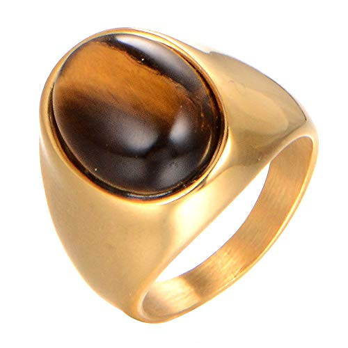 zhendongfang Jewelry Men's Stainless Steel Oval Tiger Eye Gemstone Ring,Gold,Size 9