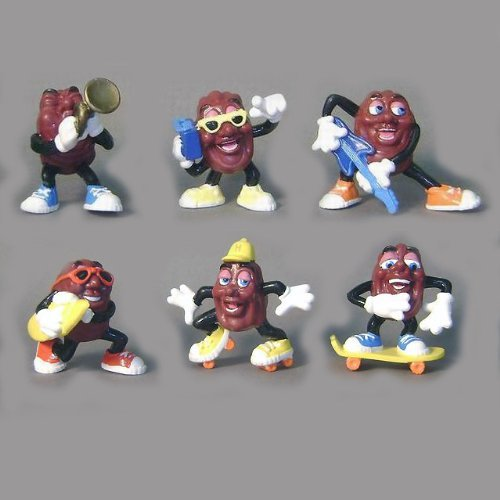 Set of 6 Hardees Premium 1988 Vintage California Raisins PVC Figures