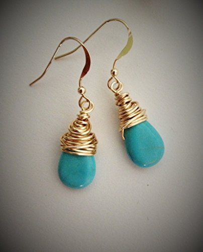 Gold Wire-wrapped Turquoise Earrings