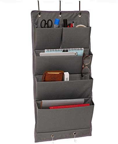 AlexBasic Over the Door Fabric File Organizer Wall Mounted Hanging Organizer with 5 Pockets for Magazines Files Papers Pens, Gray