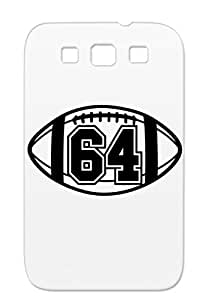 64 Football Vector 1 Color TAS TPU Shock-absorbent Sports Vector Number Ball Football Sports Black Cover Case For Sumsang Galaxy S3
