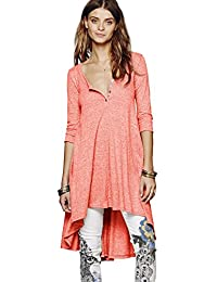 Women's Half Sleeve High Low Loose Casual T-shirt Top Tee Dress