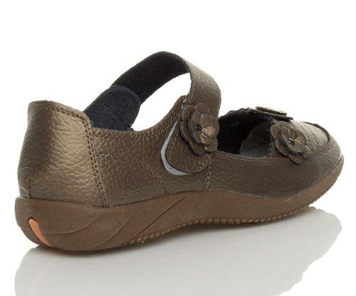 Ajvani Womens ladies full leather comfort hook & loop walking casual sandals shoes size Metallic Bronze O8Uai3