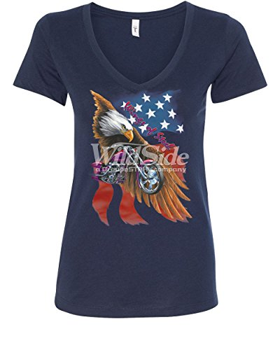 Steel T-shirt Wings (Wings of Steel V-Neck T-Shirt Route 66 Biker Flag Bald Eagle Navy Blue 2XL)