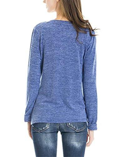 BESTHOO Shirt Donna Manica Strati Gravidanza Lunga L'Allattamento Premaman Femminili Doppi T Girocollo Comoda Blue Bluse Maglietta Elegante Semplice Top Top zrzgF