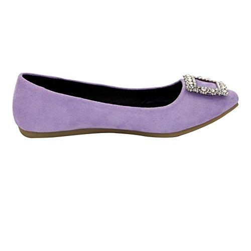 Aalardom Mujeres Frosted Pull-on, Punta Estrecha, Sin Talón, Suela Imitada Suede-flats-purple