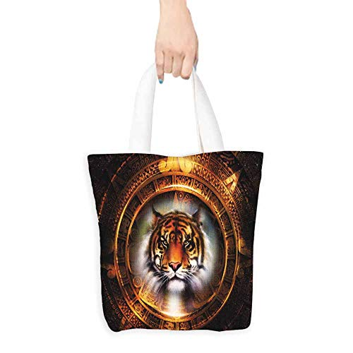 (Tiger Shopping Bag Ancient Mayan Calender Design with Big Hunter Cat Head Wise Feline Old Cultures Handy 16.5