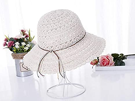 55772f6266dc Image Unavailable. Image not available for. Color: LONLLWK Straw Hat Summer  Boater Hats for Women Straw Sun Hat Lady Girls Lace Ribbon Bow