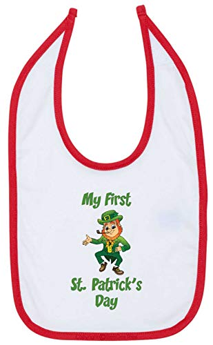 BeeGeeTees My First St Patrick's Day Funny Baby Bib Leprechan Baby Shower Gift (RedTrm)