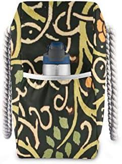 MORITAビーチバッグ プールバッグ トート 大容量 おしゃれ レディース 女の子 レジャー 大きい 大き目 でかい 水着 温泉 旅行 ポーチ 整理 ウィリアム・モリス 黒い花 芸術 プリント デザイン