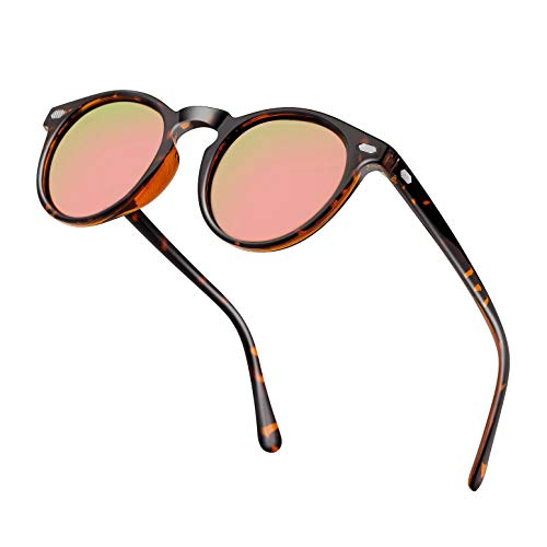 (Classic Polarized Round Sunglasses For Women Men Mirror Tinted Circle Lens Vintage Designer Style Sun Glasses Shades (Pink Lens/Leopard Brown Frame))