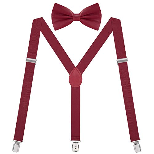 HDE Bow Tie and Suspenders for Men Women Wedding 1920s Gatsby Halloween Costume -