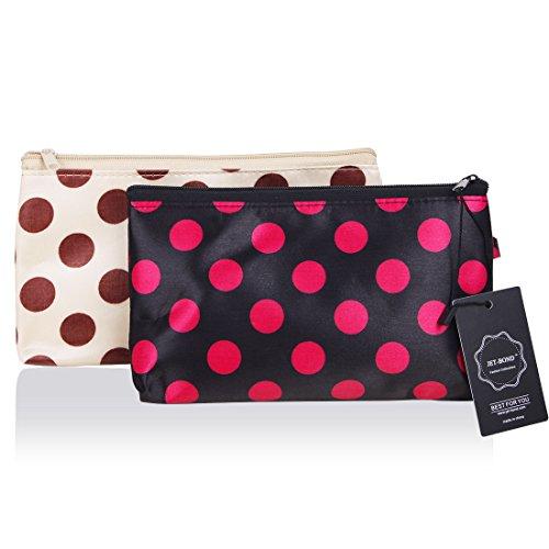 JET-BOND JJ18 Satin Zipper Clutch Organizer Purse Bag Printing Set of 2 (Satin Makeup Bag)