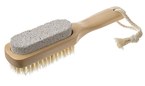 EasyLifeCare Natural Bristle Pumice Stone Body Skin Brush and Callus Remover with Wooden Handle - 100% Natural and Earth Friendly Pumice Material Scrub And Healthy Bristle Brush with Dutch Wood Handle plus Cotton Hanging Loop – Lightweight Mildly Abrasive Pumice Stone And Moderately Massage Bristles for Effective, Hygienic, Relaxing, and Thorough Cleaning – Exfoliates And Smoothens Bunions, Corn, Calluses, Dry Heels, And Hard Dead Skin – Foot SPA, Sauna, And Body Scrub Enhances Blood Circulation, Relieves Fatigue and Promotes Skin Renewal – Improves Wellness And Achieves Skin Glow