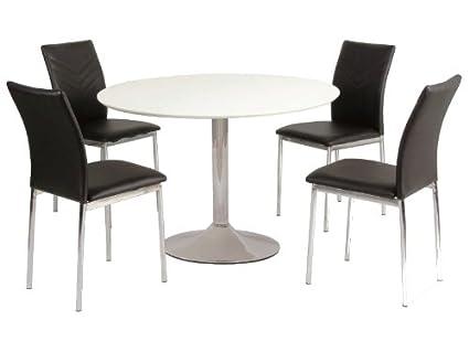 Jadella Flavio - Tavolo da pranzo, rotondo, diametro 90 cm, piano ...