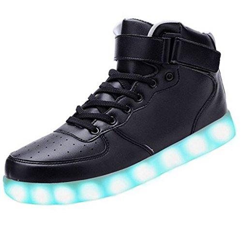 Topteck Dames Heren Hoge Top Usb Opladen Led Oplichten Schoenen Knipperen Sneakers Hoge Top Zwart