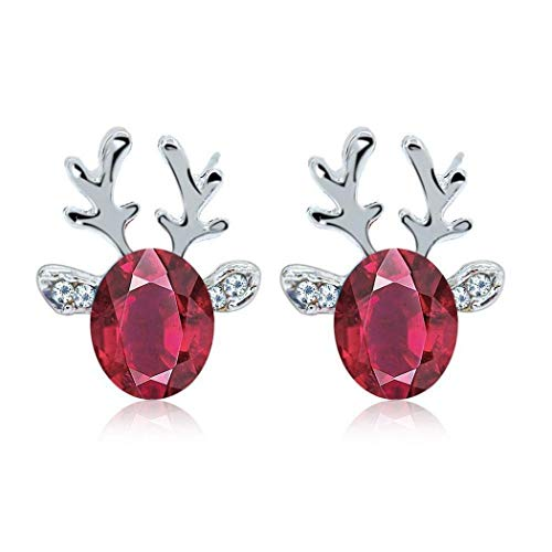 Hello22 Antlers Earrings, Rhinestone Antlers Earrings For Women Girls, Push Back Pierced Purple Ear Studs For Xmas
