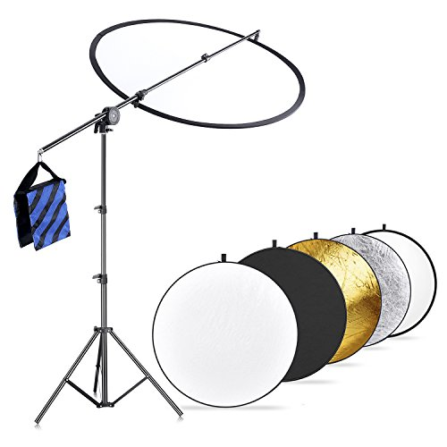 Neewer Photo Studio Lighting Reflector and Boom Arm Stand Kit:43 inches/110 centimeters 5-in-1 Multi-Disc Reflector, Holding Arm with Grip Head,75 inches/190 centimeters Light Stand,Blue/Black Sandbag from Neewer