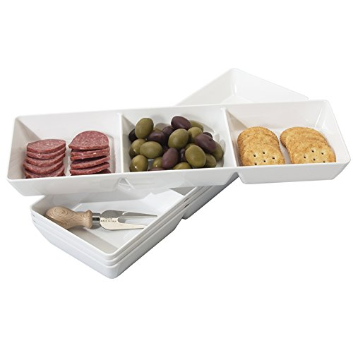 (Avant 3-Compartment Plastic Appetizer Serving Tray | set of 4 White)