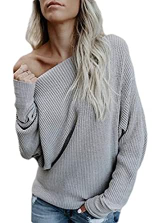 Women's One Off Shoulder Shirt Sexy Long Sleeve Baggy Pullover Tops 1 L