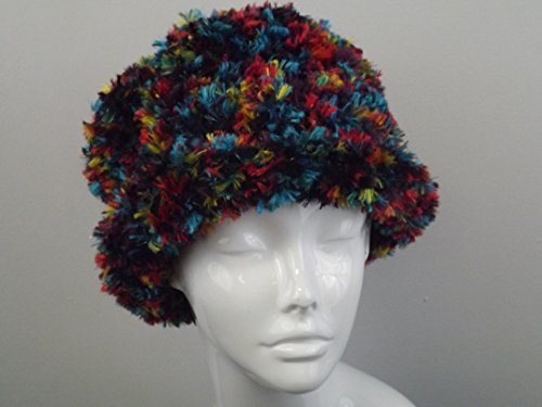Reversible Shape Hat in Bright Red, Blue, and Yellow - Cloche or Brimmed