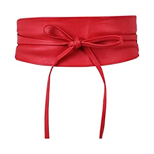 Tie Round PU Leather Waist Cinch BeltUK14987-RED-OS, Red [PLAIN, 14987]