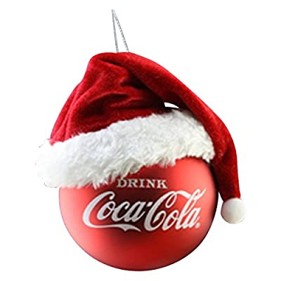 Kurt Adler Coca-Cola Red Ball with Santa Hat Ornament