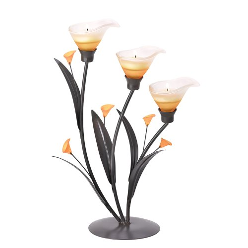 Gifts & Decor Amber Lilies Flower Decorative Tealight Candle Holder (Calla Votive)