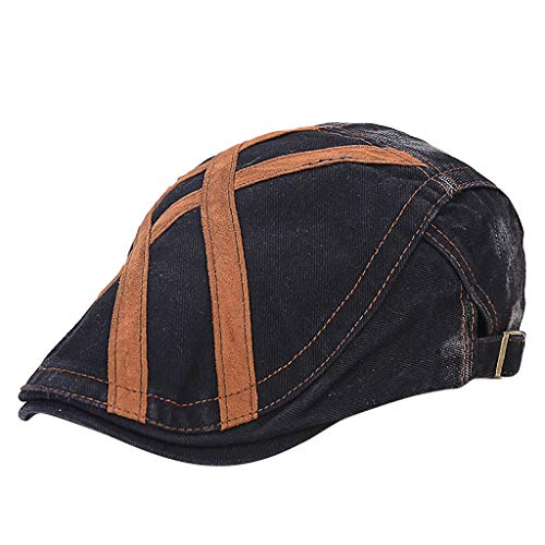 Yezijin Men Women Winter Outdoor Vintage Adjustable Gatsby Peaked Cap Newsboy Beret Hat (H-Black)