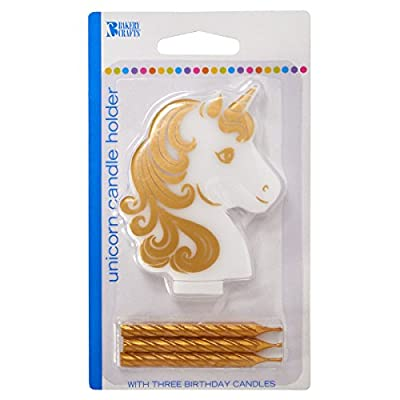 Golden Unicorn Birthday Candle Holder With Three Gold Candles: Toys & Games