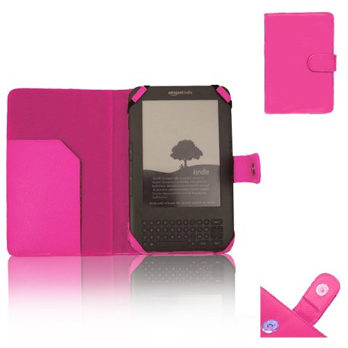 "Xtra-Funky Exclusive PU Leather Book Wallet Folio Style Case For Amazon Kindle 3 (Black 6"" E-ink Display keyboard Model) - Hot Pink"
