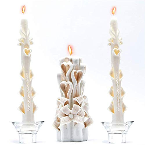 Hand Unity Candle Set of 3 Beige Ivory White by si big image