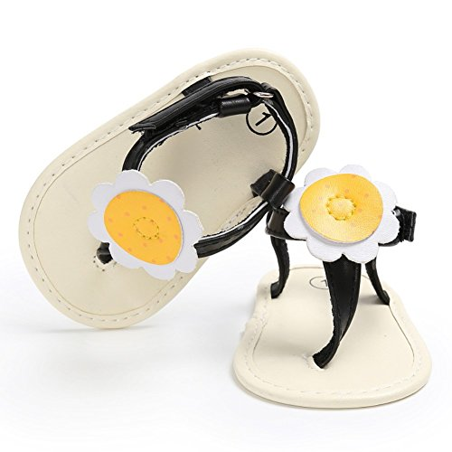 Sandalias De Bebe,BOBORA Prewalker Zapatos Primeros Pasos Para Bebe Color Flor De Sol Fresca Bebe Princess Pie Clip Sandalias negro
