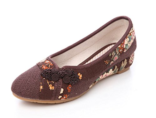 Soojun Womens Traditional Chinese Pointed-toe Slip On Walking Shoes #32 Coffee