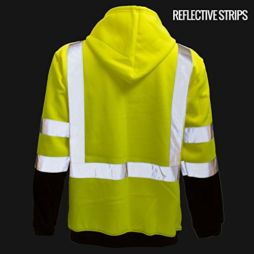New York Hi-Viz Workwear H9012 Men's ANSI Class 3 High Visibility Class 3 Sweatshirt, Full Zip Hooded, Lightweight, Black Bottom (XX-Large) by New York Hi-Viz Workwear (Image #4)