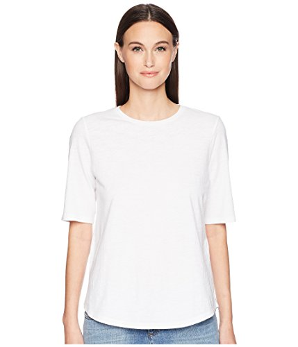 Eileen Fisher System Organic Cotton Jersey Slub Elbow-Sleeve Tee White from Eileen Fisher