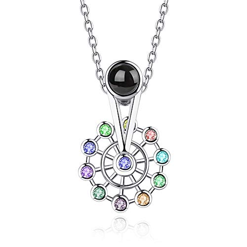 - Inf-way Ferris Wheel 100 Languages Projection on Round Onyx Pendant I Love You Necklace (Silver-Colorful)