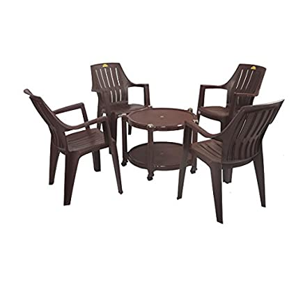 Supreme Plastic Table Chairs Set(4 Turbo super + 1 Astra table) - Brown