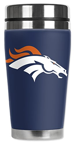 Mugzie 16-Ounce Travel Mug with Insulated Wetsuit Cover - Broncos