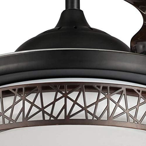 Ventilador LED 32W color negro 4 Palas plegables 42 pulgadas ahumadas: Amazon.es: Iluminación