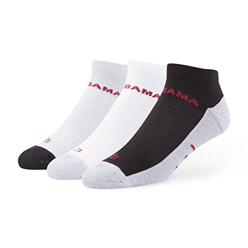 NCAA Alabama Crimson Tide Men's '47 Rush Sport Low-Cut Socks, Medium, 3-Pack