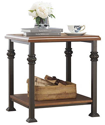 O&K Furniture End Table with Lower Shelf, Wood and Metal Side Table for Living Room, Oak (Metal Wood Finish Table)