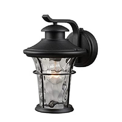 Outdoor Lighting Wall Mount Lantern with Dusk-to-Dawn Light Control of Hardware House Features Water Glass Shade, Textured Black Finish