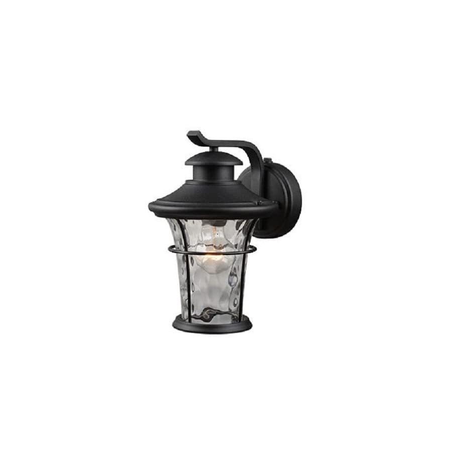 Outdoor Lighting Wall Mount Lantern with Dusk to Dawn Light Control of Hardware House Features Water Glass Shade, Textured Black Finish