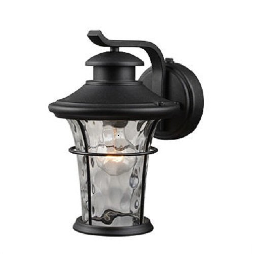 Cheap Outdoor Lighting Wall Mount Lantern with Dusk-to-Dawn Light Control of Hardware House Features Water Glass Shade, Textured Black Finish