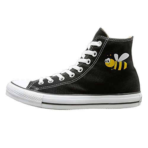 Unisex Classic Cartoon Bee Slip-On Shoes Black Size40