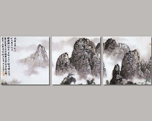 QICAI Chinese Landscape Paintings Prints On Canvas Chinese Canvas Art Landscape The Picture Traditional Chinese Art Prints Famous Chinese Landscape Painting Framed For Home Modern Decor,3pcs/set (Chinese Framed Painting)