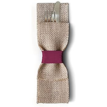 Rustic and Elegant Burlap Silverware Pockets (Pack of 12, Burgundy). Cutlery Pouches That are Great for Barn Weddings, Dinner Parties & Rustic Table Decor