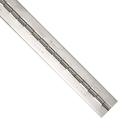 """LaDeau Annealed Stainless Steel 304 2B Mil-Spec Complete Continuous Hinge with Stainless Steel MS20253 Pin, 0.050"""" Thick, 1-1/4"""" Open Width, 0.118"""" Pin Diameter, 31/64"""" Knuckle Length, 6' Length"""